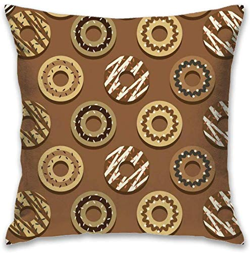 Home Decor Kussensloop Square Throw kussenslopen polyester kussensloop 18x18 inch chocolade donuts