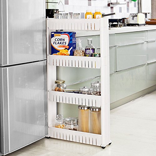 Taylor & Brown Slim Slide Out Kitchen Bathroom Trolley Rack Holder Storage Shelf Organiser on Wheels (4 Tier)