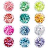 Glitter per Unghie in Polvere Chunky Glitter Olografiche Brillantini Ultra Sottili Iridescenti Paillettes per Unghie Corpo Viso 12 Colori