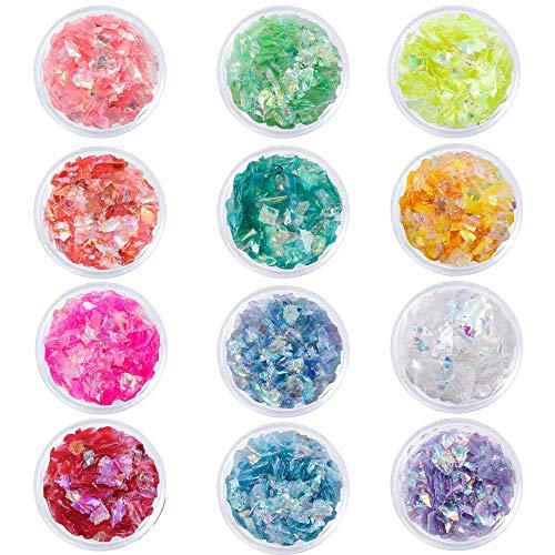 Paillettes Glitter Ongles Set de Paillette Maquillage Paillettes Holographiques pour Ongles Visage Yeux Lèvres Cheveux Corps 12 Couleur
