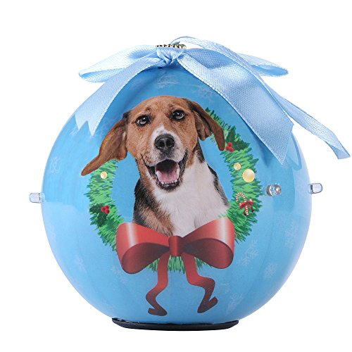WGS Unique Twinkling Lights Dog Collection Christmas Ball Ornament, Beagle