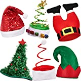 6 Pieces Christmas Hats Santa Xmas Hat Christmas Tree Hat Cap Elf Hat Coil Santa Hat for Adults Merry Xmas Carnival Party Costume Props
