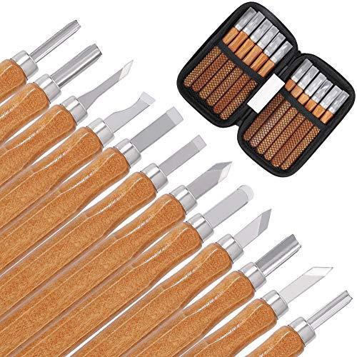 Herramienta de Talla de Madera Cinceles de Escultura con Piedras de Afilar Cuchillo de Talla de Madera de SK2 Acero al Carbono para Principiantes Artistas 12 Piezas