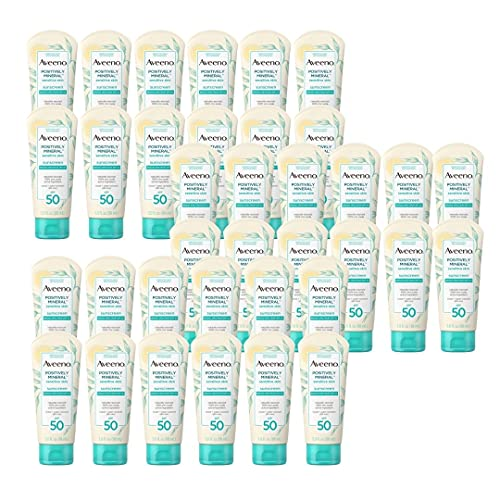 Positively Mineral Sensitive Skin Daily Sunscreen Lotion, Unscented, with 100 Zinc Oxide, Non Greasy, Sweat & Water Resistant, Sheer Sunscreen for Face Body Travel Size, Pack of 36, 3 Fl OZ Per Pack