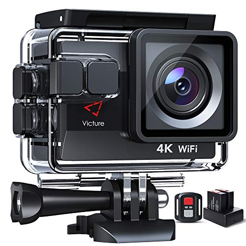 Victure Action Cam AC820 4K 50FPS 20MP Wi-Fi Native Sports Camera (EIS Action Camera Touch Screen Videocamera Subacquea Impermeabile 40M, Telecomando, Batteria 2x1050mAh con Caricatore)