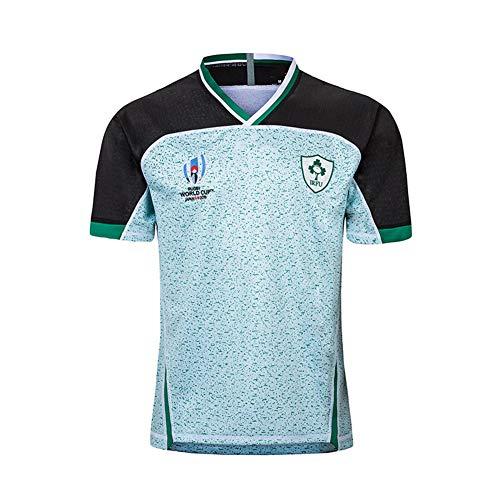 JUNBABY Weltmeisterschaft 2019 Irland Rugby Trikot, Heim und Auswärtsplatz Fußballtrikots Herren T-Shirt Irisches Kurzarmhemd-Blue-L