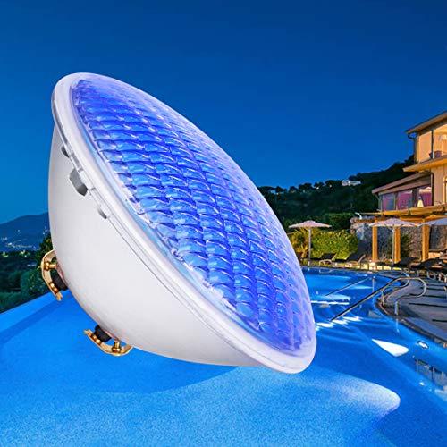 COOLWEST Iluminación LED para Piscinas, Luz Subacuática Azul de 36W, Iluminación para Estanques a Prueba de Agua IP68, Foco de Piscina al Aire Libre AC/DC 12V Bajo el Agua para Piscina, Jardín