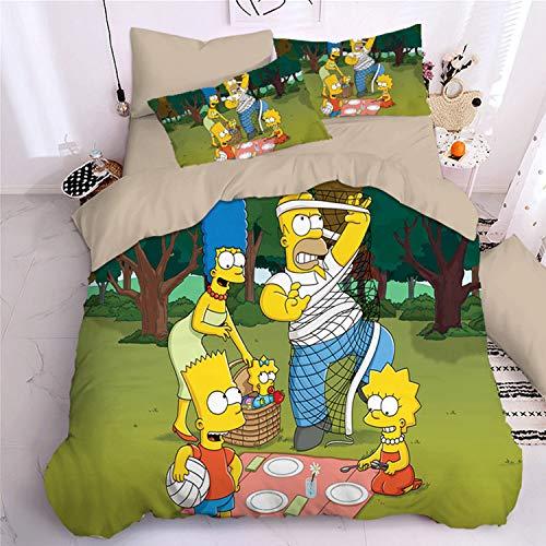 Simpson - Juego de funda nórdica y funda de almohada (microfibra, 220 x 240 cm)