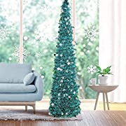 Fonder Mols 5ft Artifitial Blue Christmas Tree Collapsible, Pop Up Blue Tinsel Coastal Snowflake Xmas Tree for Frozen Holiday Party Decorations