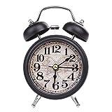 LTLJX Despertador de Alarma Digital Retro Reloj Dial Número Doble Redondo de Bell de la Aguja del Reloj del Reloj de Tabla for el Sitio de los niños decoración del hogar LUDEQUAN