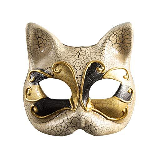 Lazzboy Kinder Maskerade Maske Vintage Venezianische Karierte Musikalische Party Cat Halloween Masquerade Mask(Schwarz)