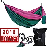 RICHKA Camping Hammock - Double Hammock - Portable Hammock - Best Outdoor Travel Hiking Patio Beach Hammock - Parachute Lightweight Nylon Hammock - Two Person Hammock - Large Hammock (Green, Purple)
