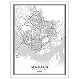 YUAN Leinwand Bild,Brasilien Manaus Stadtplan Schwarz Weiß