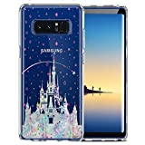 Unov Case Compatible with Galaxy Note 8 Clear with Design Soft TPU Shock Absorption Slim Embossed Pattern Protective Back Cover (Watercolor Castle)