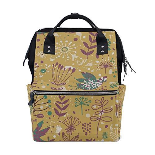 COOSUN Mochila de pañales con patrón de pájaros amarillos, mochila de viaje de gran capacidad