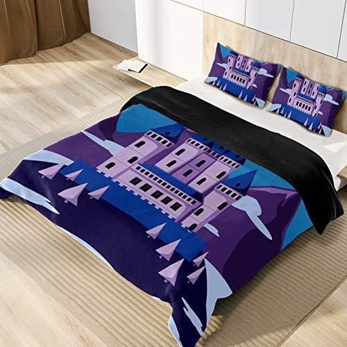 Eslifey Mikrofaser Bettbezug Set Bettwäsche mit 1 Bettbezug 155x220cm + 2 Kopfkissenbezug 40x80cm Karikatur lila Schlossberg