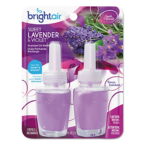 BRIGHT Air 900270 Electric Scented Oil Air Freshener Refill, Sweet Lavender/Violet, 2/PK, 6 PK/CT