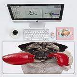 FAQIMEI Alfombrillas Gaming Ordenador Pad Cool Pug Dog Boxer golpeando con Guantes de Boxeo de Cuero Rojo Máxima Precisión con Base de Caucho Natural, Máxima Comodidad