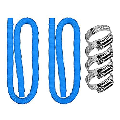 Emeili Manguera de Repuesto para Piscina 1,5m Conexiones de 32 mm con 4 Pinzas Metálicas, Accesorio de Repuesto de Bomba de Piscina para Bomba Intex 300 GPH a 1000 GPH