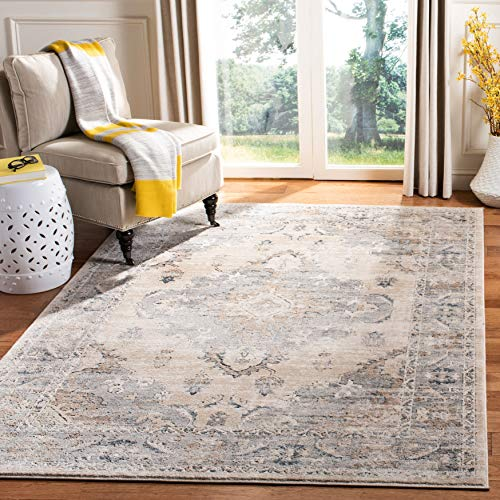 """Safavieh Oregon Collection ORE898B Oriental Distressed Non-Shedding Stain Resistant Living Room Bedroom Area Rug, 6'7"""" x 6'7"""" Square, Beige / Grey"""
