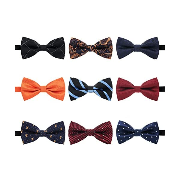 AVANTMEN 9 PCS Pre-tied Adjustable Bowties for Men Mixed Color Assorted Neck Tie Bow Ties (9 Pack, Style 2)