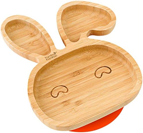 bamboo bamboo® Baby Toddler Bunny Cub Suction Plate, Stay Put Feeding Natural (Yellow)