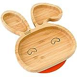 Plato con ventosa de succión para bebés y niños pequeños, queda en su sitio, hecho de bambú natural naranja naranja
