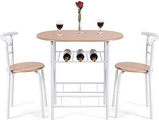 COSTWAY Juego de Mesa y 2 Sillas de Comedor de Madera y Metal con Vino Estante para Cocina (Blanco)