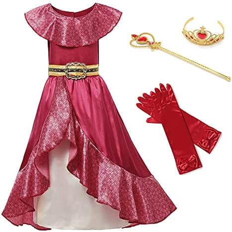 chenfeng Girl's Cosplay Dress Girl Red Gifts Fashion Princess Elena Kids