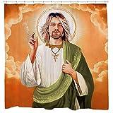 Sharp Shirter Lustiger religiöser Duschvorhang, Musikkunst für Badezimmer, Kurt Cobain, orangefarbener Stoff, Haken enthalten