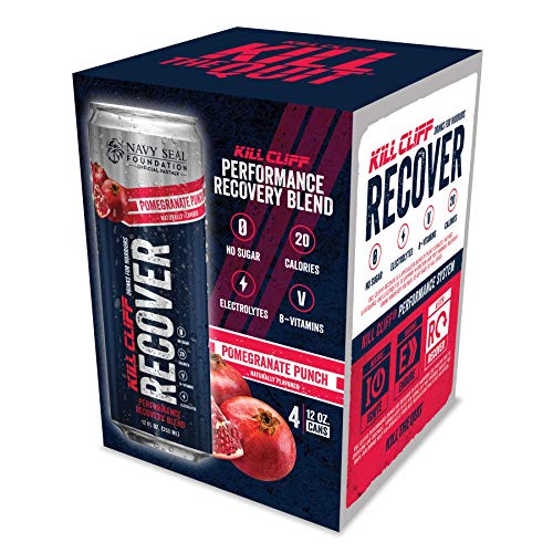 KILL CLIFF Recovery Drink, Pomegranate Punch, 12 Oz Cans, 4 Count - Clean Hydration, Low Cal, Electrolytes, B-Vitamins
