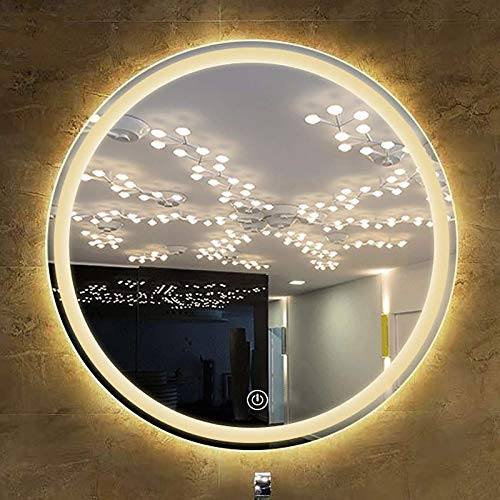 Espejo De Baño Led Redondo Iluminado con Función De Atenuación Y 3 Colores De Luz Interruptor De Sensor Táctil Espejos De Tocador Montados En La Pared Varias Opciones De Led
