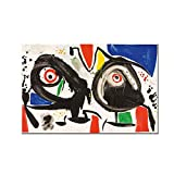 Joan Miro Surrealismo Moderno Arte Pinturas en Lienzo Cuadro Abstracto Arte Retro Cartel e Impresiones Habitación de Pared Decoración del hogar-60x90cm-Sin Marco
