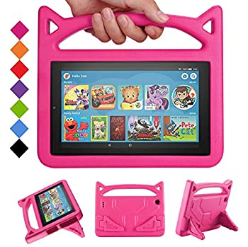2019 Fire 7 Tablet Case for Kids -SHREBORN Kids Shock Proof Case Cover with Handle and Stand for Amazon Kindle Fire 7 Inch Tablet  Compatible with 9th/7th/5th Generation 2019/2017/2015 Release -Rose