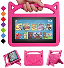 2019 Fire 7 Tablet Case for Kids -SHREBORN Kids Shock Proof Case Cover with Handle and Stand for Amazon Kindle Fire 7 Inch Tablet (Compatible with 9th/7th/5th Generation, 2019/2017/2015 Release)-Rose