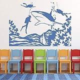 Mundo submarino tatuajes de pared escena de buceo tiburón vida marina tema vinilo pegatinas de vidrio habitación de los niños acuario decoración de interiores