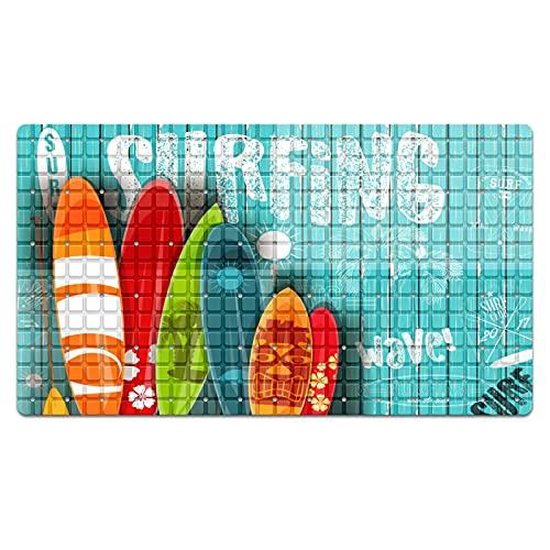 Alfombrilla antideslizante para bañera de verano, tabla de surf, playa, surf, madera, alfombrilla de baño, 68 x 38 cm, con ventosas y agujeros de drenaje, lavable a máquina
