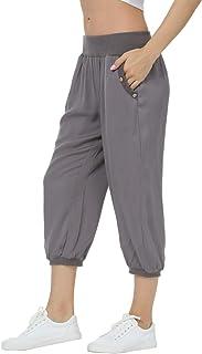 Dilgul Jogging Femme Pantalon de Sport Yoga Gym avec Poches Pantalons Casual Harem Yoga Pilates