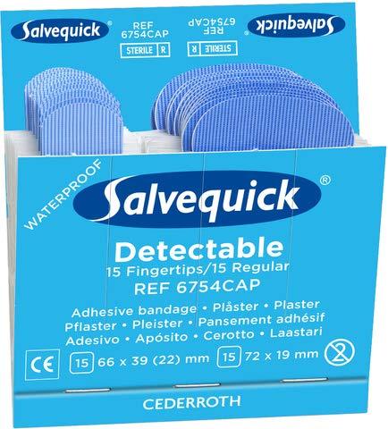 Salvequick Pflaster Blue Detectable REF 6754CAP, 6 x 30 Stück, sortierte Größen, blau (180 Stück)
