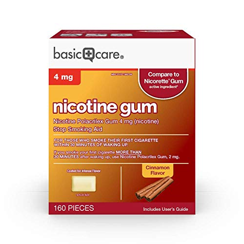 Amazon Basic Care Nicotine Polacrilex Coated Gum 4 mg (nicotine), Flavor, Stop Smoking Aid; Quit Smoking with Nicotine Gum, Light Yellow, Cinnamon, 160 Count (Pack of 1)