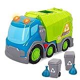 Kiddy GO! - Camión juguete, camión basura juguete, camión para niños con luz y sonido, camión reciclaje con accesorios incluidos, juguetes educativos, juguetes niños 1 año (46606)