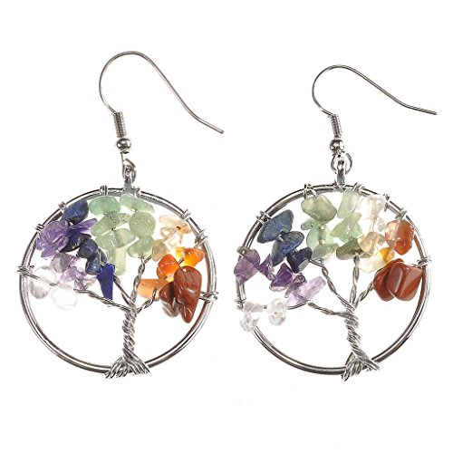 JOVIVI Women Tree Of Life Drop Earrings Wire Wrapped Crystal Pendant 7 Chakra Matural...