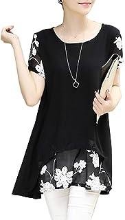 【最終セール】[ニーマンバイ] 透け感 花柄 チュニック Uネック プルオーバー 体型カバー シャツ 春 夏 レディース M〜3XL