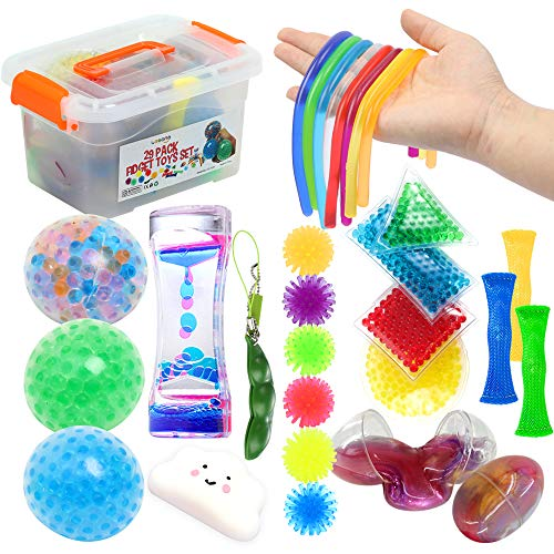 Fidget Toys Set 29Pack, Sensory Relieves Stress & Anxiety Squeeze Toy for Kids Teens and Adults ADHD ADD Autism, Fun Fidgeting Game for Classroom & Office with Stress Balls, Liquid Timer, Marble Mesh