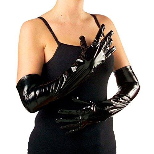 NET TOYS Gants Latex Noir Latex Longs Gants Main Gant Gants pour Femme Carnaval Mardi Gras déguisement Accessoire Accessoires