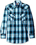 ELY CATTLEMAN Men's Long Sleeve Plaid Western Shirt, Turquoise, X-Large
