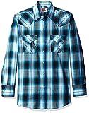ELY CATTLEMAN Men's Long Sleeve Plaid Western Shirt, Turquoise, Large