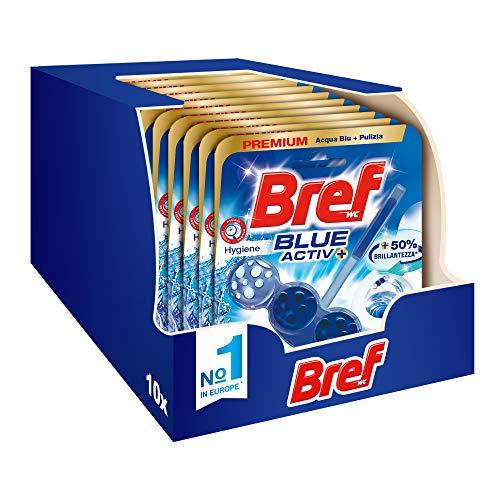 Bref WC Blue Activ + Detergente WC, Pulizia e Freschezza, Formato Scorta 10 Pezzi