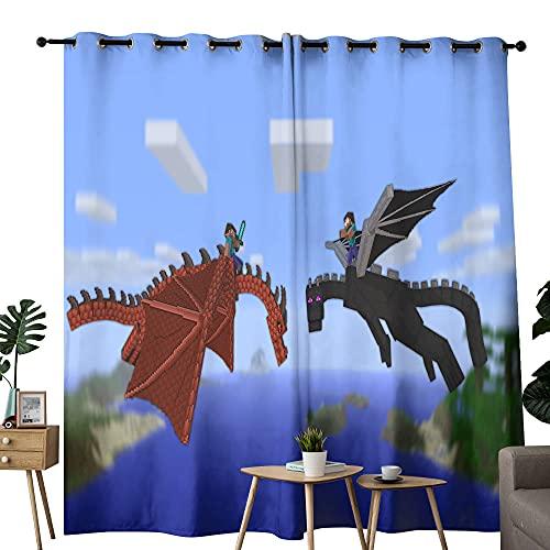 Cortinas de cocina Minecraft Dos dragones utilizados en la sala de estar para mejorar el dormitorio de la junta de 100 x 84 pulgadas