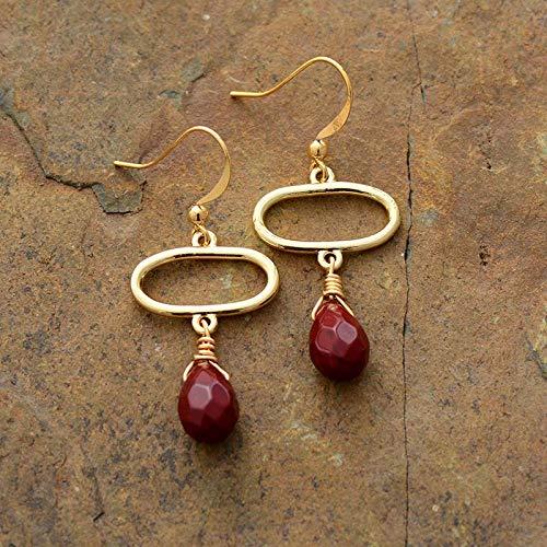 Pendientes de aro NOBRAND para mujer, ovalados en tono dorado rojo, con piedra de jaspe elegante y lágrima